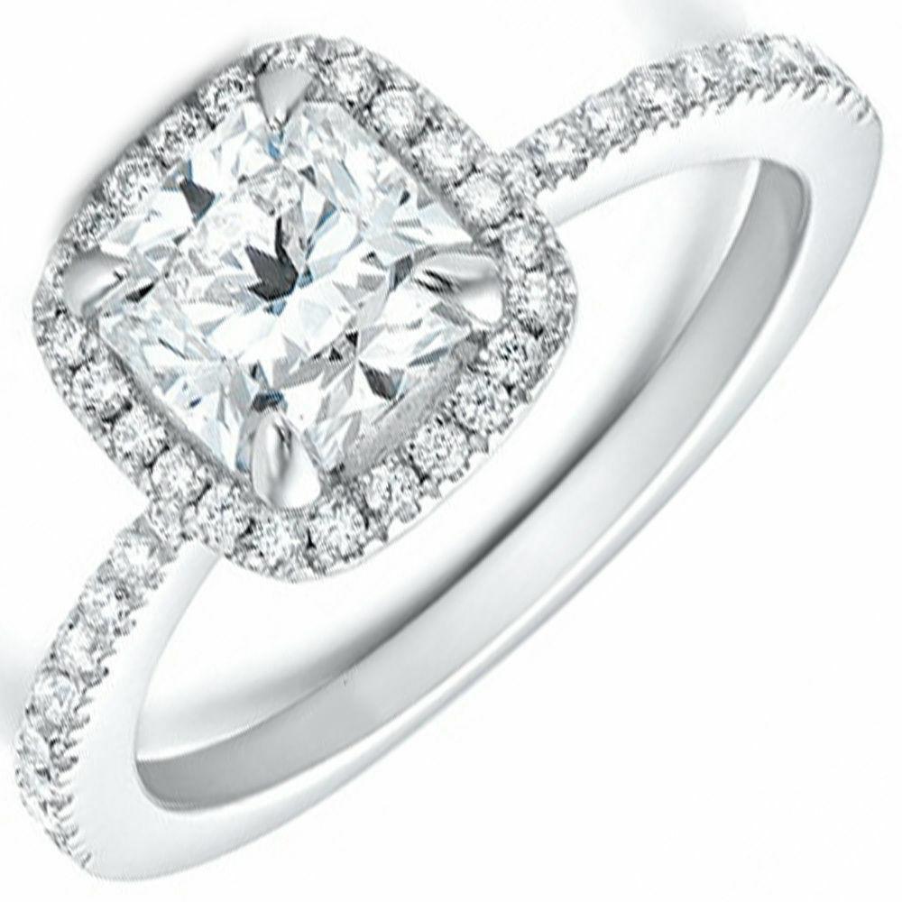 GIA Certified Diamond Engagement Ring Natural Cushion cut  0.70 carat 18K Gold