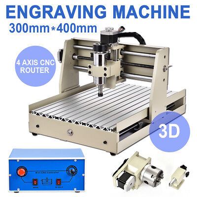 4 Axis 400w 3040t Cnc Router 3d Engraver Engraving Drilling Milling Machine110v