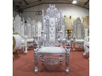 1 x Damaged Silver Lion Throne Chair Wedding Events Luxury Hand Carfted Italian Furniture