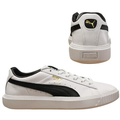 Puma Breaker Leather Low Top Mens White Navy Lace Up Trainers 366078 02 Q6D