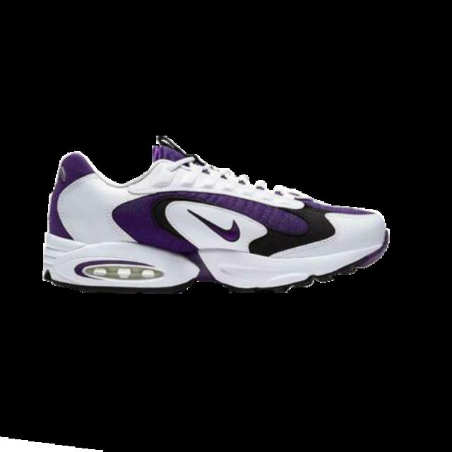 White and Purple Nike Air Sneakers.