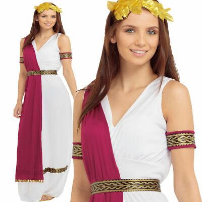 Römische Toga Party Erwachsene Kostüm Kostüm Griechische Göttin Damen Outfit Neu
