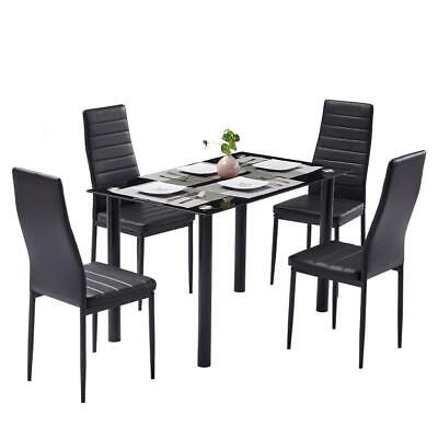 New 5 Piece Glass Dining Table Set 4 Chairs Room Kitchen Breakfast Furniture US
