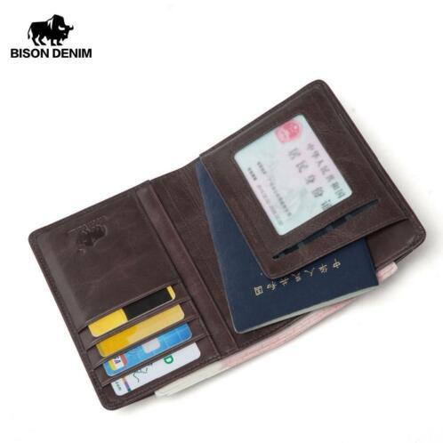 Paspoort Portemonnee.Bison Denim Mannen Portemonnee Lederen Paspoort Cover Coin