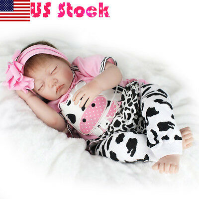 "22"" Lifelike Vinyl Reborn Doll Baby Newborn Silicone Sleeping Girl Dolls Gifts"