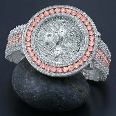Pink Tourmaline Custom Watch Real Diamond Dial 18k White Gold Finish Steel back