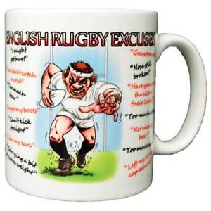 English Rugby Excuses Ceramic Coffee Mug – Makes an Ideal Six Nations Gift