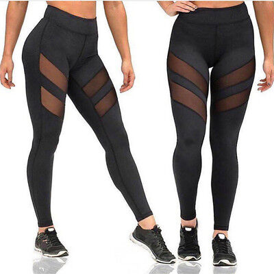 Black-Womens Sports Yoga Leggings Sexy Disco Slim Side Hole Stretch Pencil Pants - Black Disco Pants