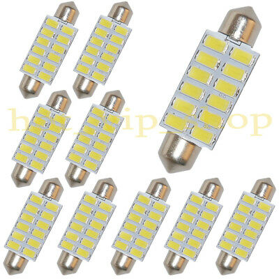- 10x 42mm LED Festoon Bulbs 12-5730-SMD Dome Car Interior Light Lamp White AC 12V