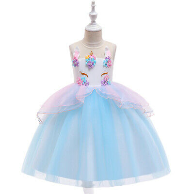 Masquerade Ball Dresses For Girls (Girls Unicorn Princess Tutu Dress Masquerade Birthday Halloween Ball Gown)