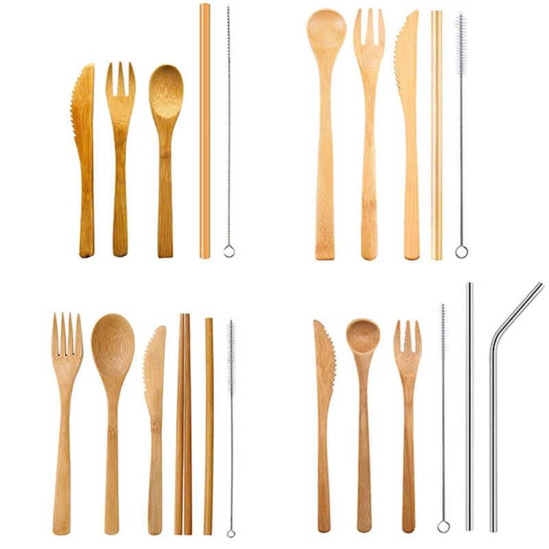 /& Kitchen Chopsticks Dinnerware Set Bamboo Cutlery Fork Spoon Camping Tableware