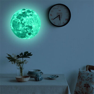 20cm 3D Large Moon Glow In The Dark Fluorescent Wall Sticker Removable Decal US - Glow In The Dark Wall Decals