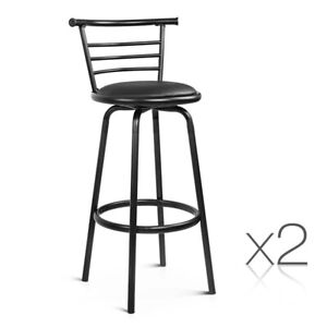 2 x 360 Degree Swivel Kitchen Bar Stool Chair PU Leather Steel Dining Black