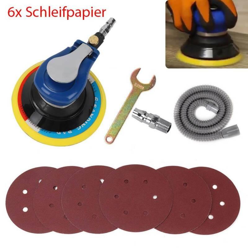 Druckluft Schwingschleifer Exzenterschleifer Schleifmaschine 6x Schleifpapier DE