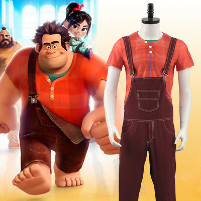 Wreck It Ralph Halloween (Wreck-It Ralph 2 Shirt+Vest+Overalls Party Adult Men Halloween Cosplay)