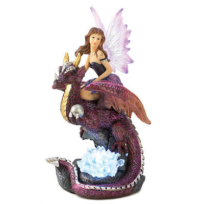 Fairy Maiden Dragon Rider Led Lighted Color Figurine