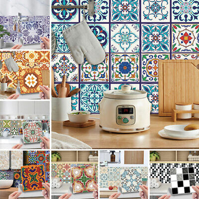 Home Decoration - 24Pcs Mosaic Tile Stickers Floral Self Adhesive Kitchen Bathroom Home Wall Decor