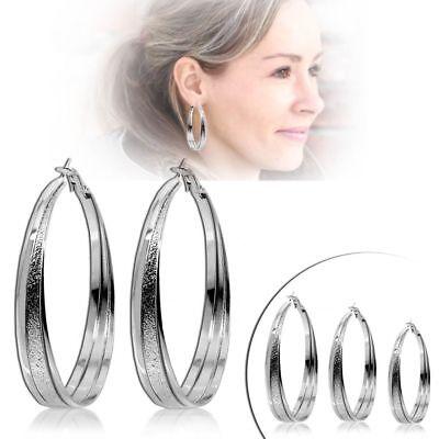 2 Creolen Ohrringe Damen Modeschmuck Ohrstecker Silbern XXL - Silberne Modeschmuck Ringe