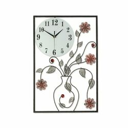 3D Rectangular Large Flower Vase Wall Art Design Crystal Iron Wall Clock W/Hooks