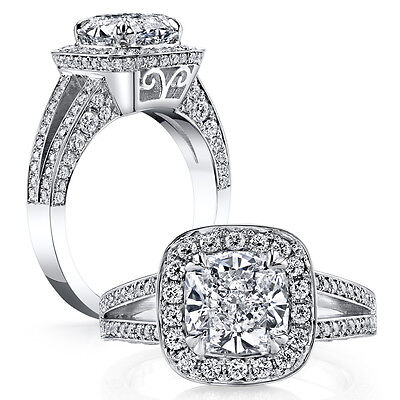2.30ct Natural Cushion Halo Pave Split Shank Diamond Engagement Ring - GIA
