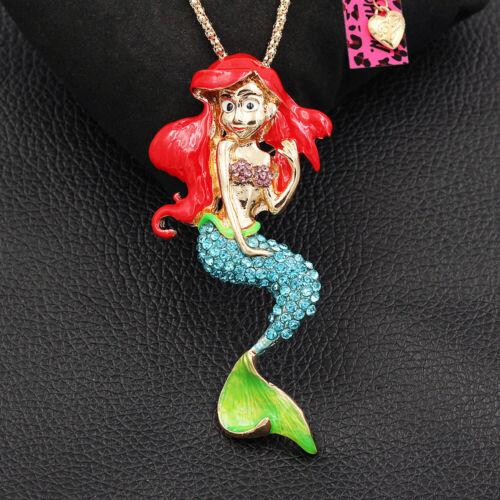 Betsey Johnson Color Enamel Crystal Mermaid Pendant Chain Ne