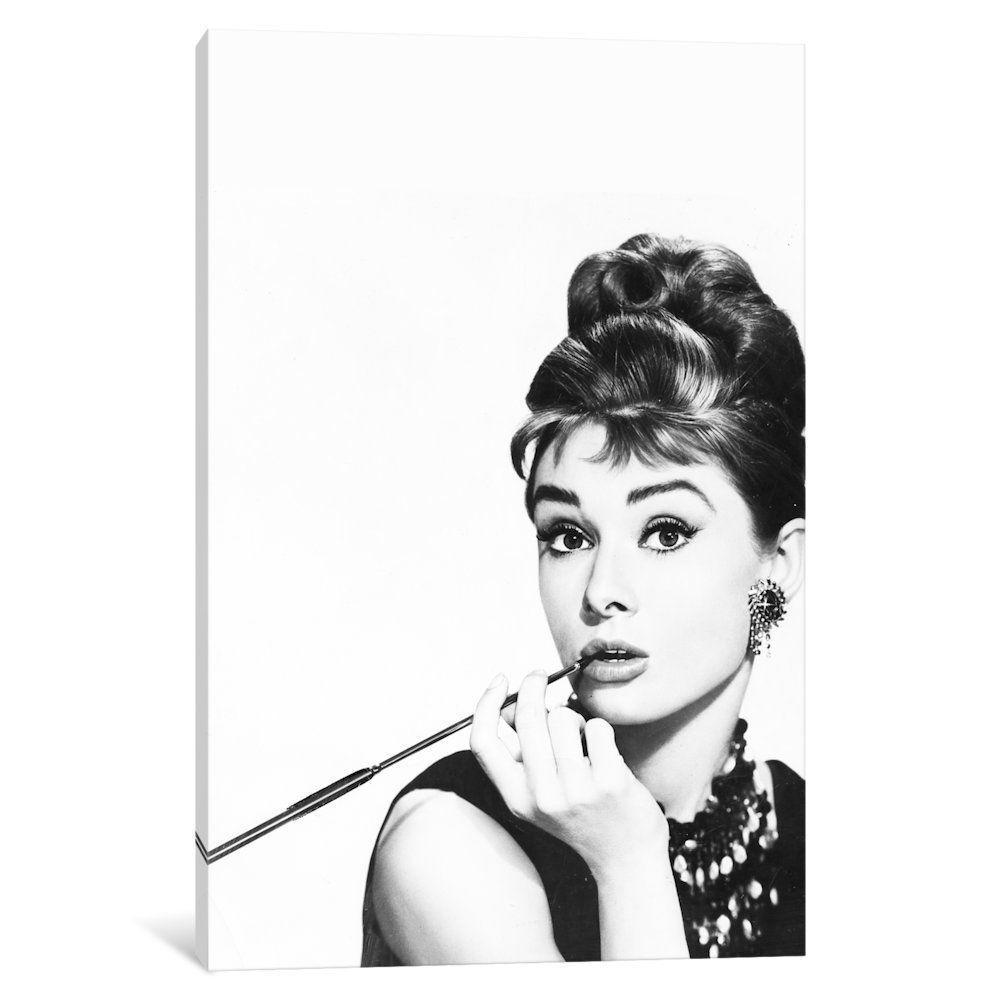 #67155 Audrey Hepburn Zigarette Poster Leinwand-Druck 80x80cm