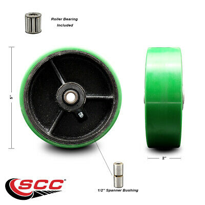 Scc-5 Green Poly On Cast Iron Wheel Only Wroller Bearing-12bore-1000 Lb Cpty