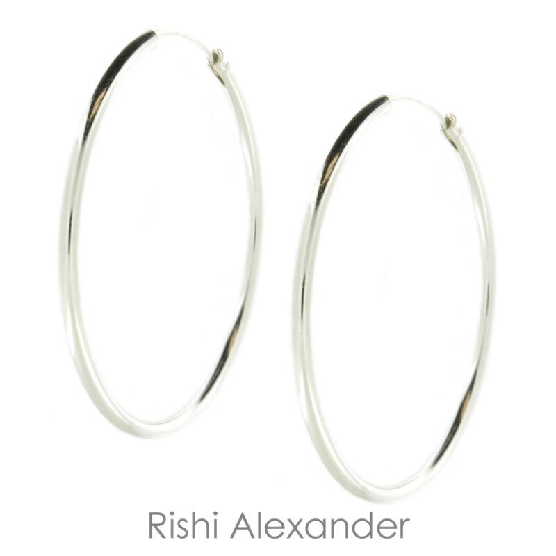 925 Sterling Silver 2mm Endless Hoop Earrings All Sizes