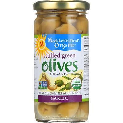 - Mediterranean Organic-Organic Green Olive Stuffed With Garlic (12-8.5 oz jars)