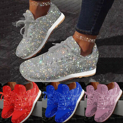 UK Womens Ladies Sparkly Shiny Trainers Sneakers Lace Up Casual Sport Shoes Size