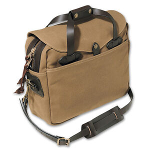 Filson-Briefcase-Computer-Laptop-Bag-Large-Style-70257-Cotton-Leather-Tan