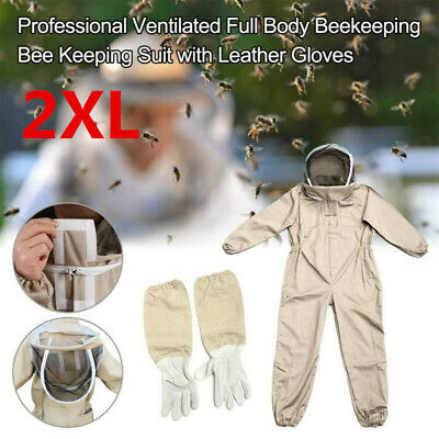 2XL Full Body Anti-bee Suit Cotton Beekeeping Clothing w/Veil Hood&Gloves Unisex