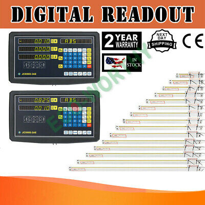 23 Axis Digital Readout Ttl Linear Glass Scale Dro Encoder Kit Milling Lathe Us