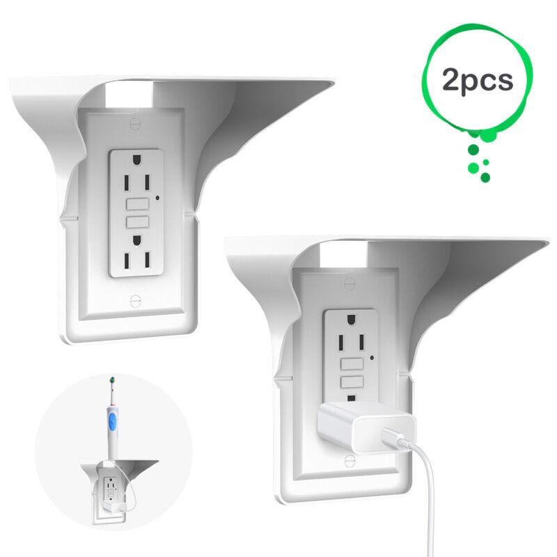 2 PCS Socket Shelf  Surge Protector Wall Outlet 2 Ports Power Perch Organizer