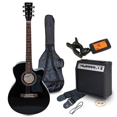 Johnny Brook JB302A Electro-Acoustic Guitar Kit with 20W Amplifier Black
