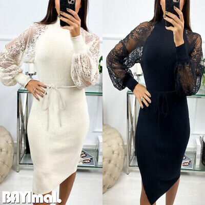 Womens Lace Puff Sleeve Midi Dress Ladies Casual Party High Neck Bodycon Dresses