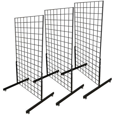Set Of 3pc Gloss Black Gridwall Panel T-leg Floor Stand Display Hanging 4ft Tall