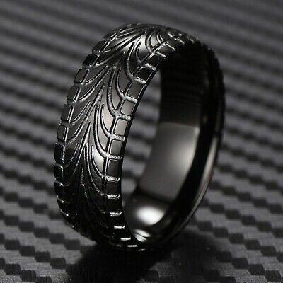 - Black Stainless Steel Men's Tire Track Wedding Band Ring Size 9-15