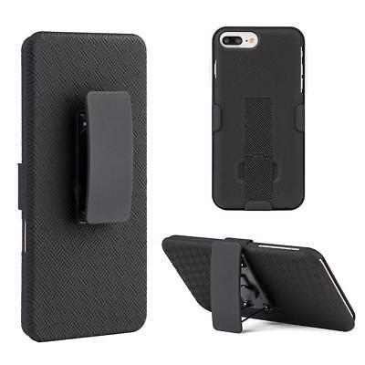 For Apple iPhone 7 Plus Slim Holster Shell Case Cover with Belt Clip - Black Black Shell Case Belt Clip