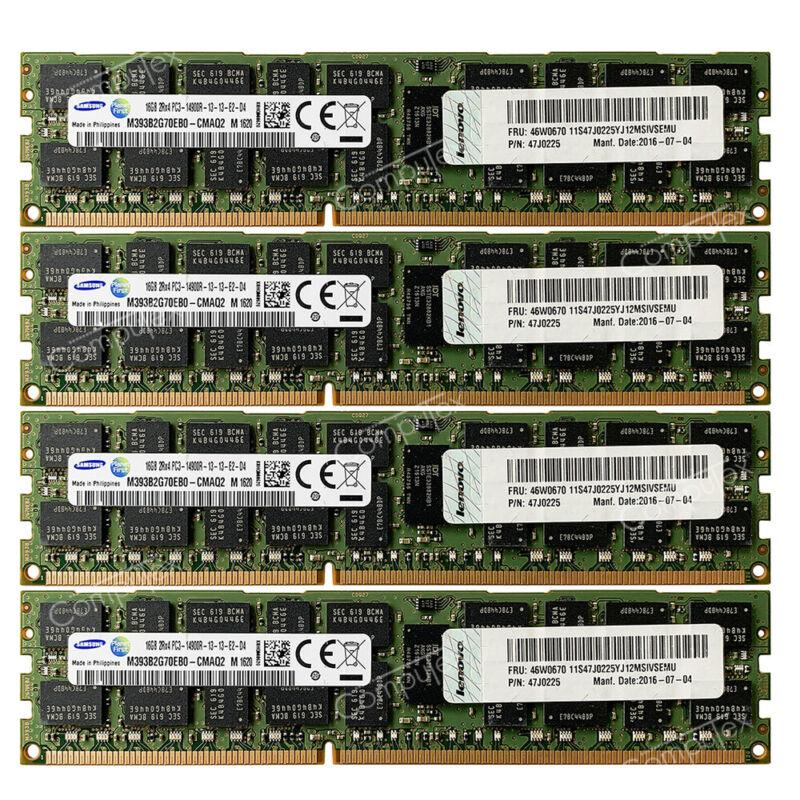 Samsung 64GB 4X16GB PC3-14900R DDR3-1866MHz 1.5V 240 PIN RDIMM ECC REG Memory