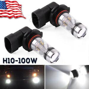 2x 6000K Super White H10 9145 100W LED  Fog Driving Light DRL Bulbs