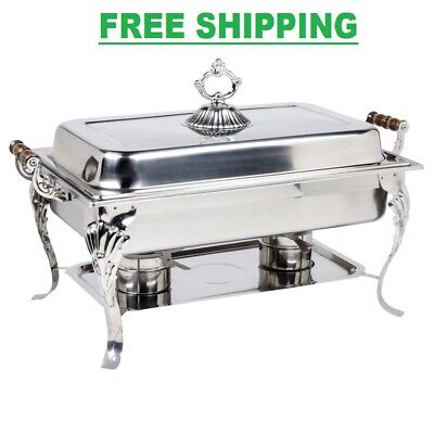 Classic 8 Qt Catering Stainless Steel Chafer Full Chafing Dish Size Buffet Set