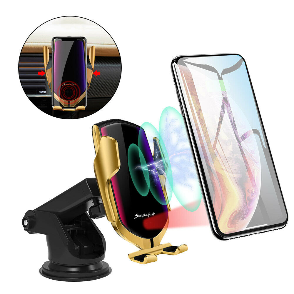 US Automatic Clamping Qi Wireless Car Charger Mount Air Vent