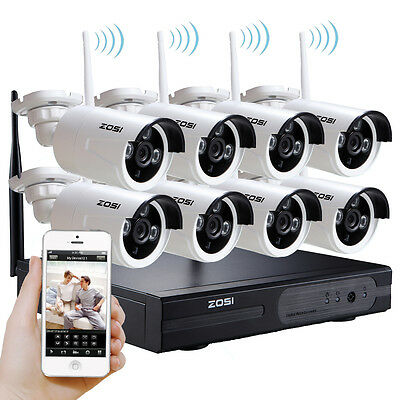 ZOSI 8CH Wireless 960P NVR Outdoor HD 1.3MP Camera Kit CCTV Security Home System