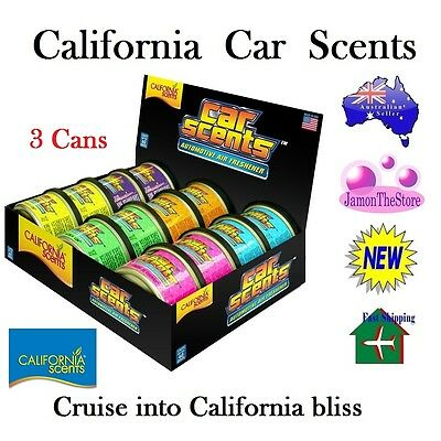 California Scents Car Air Freshener Deodoriser 3 Cans Many Fragrance Last 60 Day