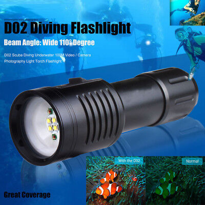 Underwater Video Lighting (Scuba Diving Underwater 100M Video Photography Flashlight Torch Light Lamp US )