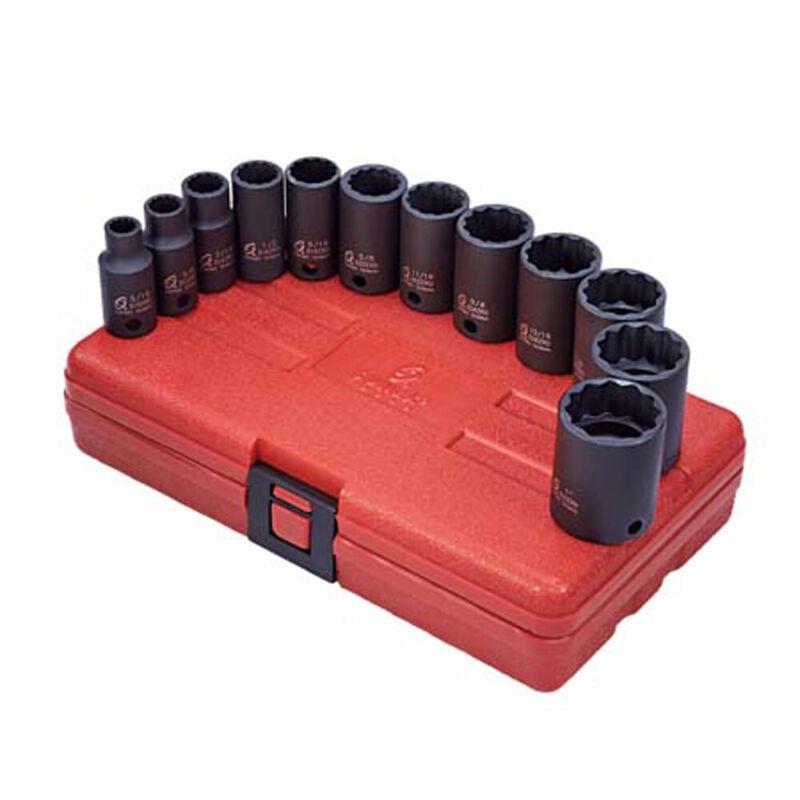 Sunex 3337 3/8 Inch 12 Pt. SAE Semi-Deep Impact Socket Set with Hard-shell Case