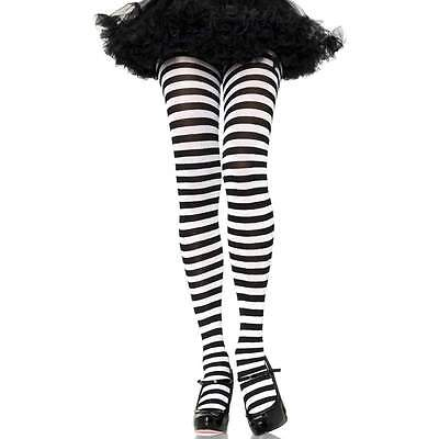 Striped Tights Nylon Pantyhose Dr Seuss Costume Pirate Halloween One Size