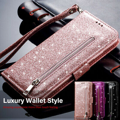 Case For Samsung Galaxy S9 S10 S8 A70 A50 A40 Luxury Glitter Leather Flip Wallet