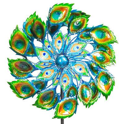 Outdoor Peacock Wind Spinner Solar Crackle Globe Metal Garden Decor Primrose